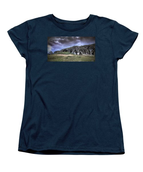 Women's T-Shirt (Standard Cut) featuring the photograph Fort Fisher Stormy Sunset by Phil Mancuso