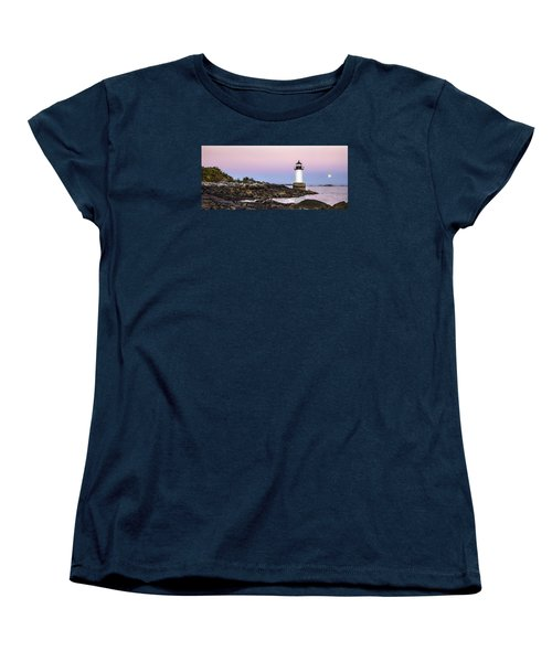 Women's T-Shirt (Standard Cut) featuring the photograph Fort Pickering Lighthouse, Harvest Supermoon, Salem, Ma by Betty Denise