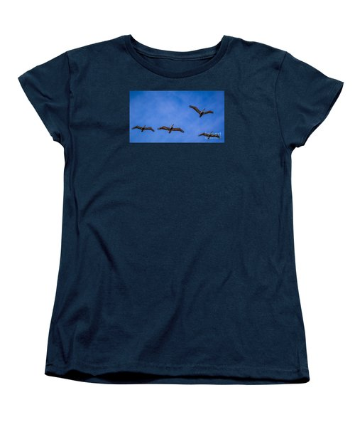 Women's T-Shirt (Standard Cut) featuring the photograph Four Pelicans by Randy Bayne