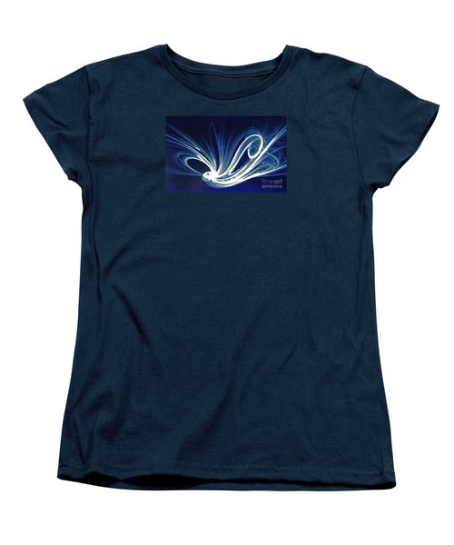 Fractal Wonder In Blue And White Women's T-Shirt (Standard Cut) by Merton Allen