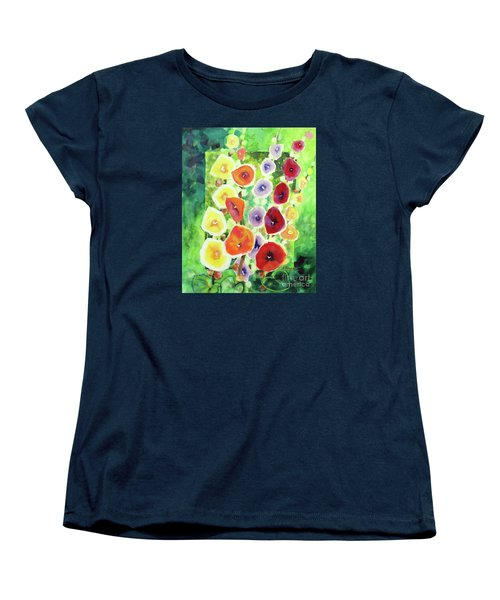 Women's T-Shirt (Standard Cut) featuring the painting Framed In Hollyhocks by Kathy Braud