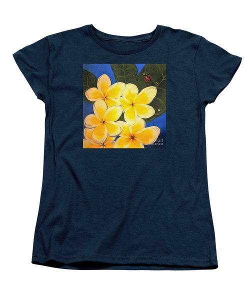 Women's T-Shirt (Standard Cut) featuring the painting Frangipani With Lady Bug by Sandra Phryce-Jones