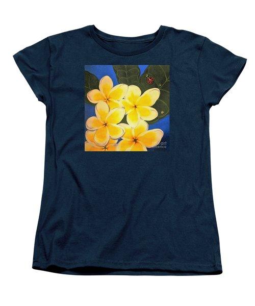 Frangipani With Lady Bug Women's T-Shirt (Standard Cut) by Sandra Phryce-Jones