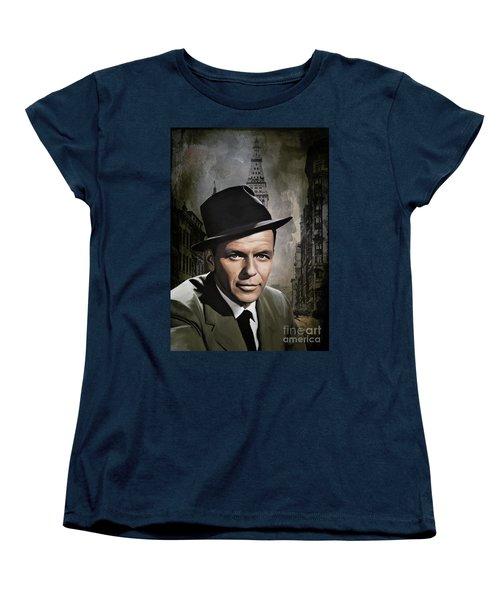 Women's T-Shirt (Standard Cut) featuring the painting  Frank Sinatra by Andrzej Szczerski