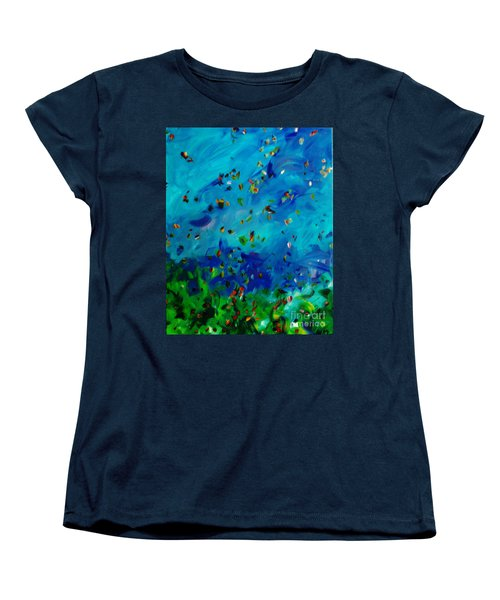 Women's T-Shirt (Standard Cut) featuring the painting Freelancing  by Reina Resto