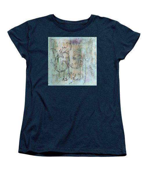 French Country Scroll In Muted Blue Women's T-Shirt (Standard Cut)