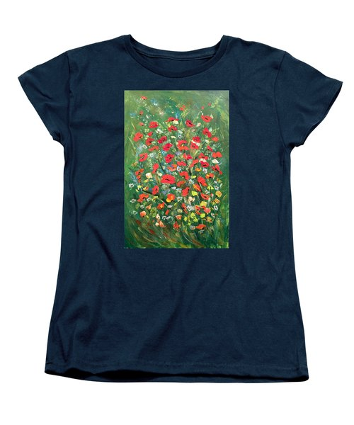 Women's T-Shirt (Standard Cut) featuring the painting Fresh Poppies From The Garden by Dorothy Maier