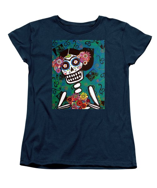 Frida Dia De Los Muertos Women's T-Shirt (Standard Cut) by Pristine Cartera Turkus