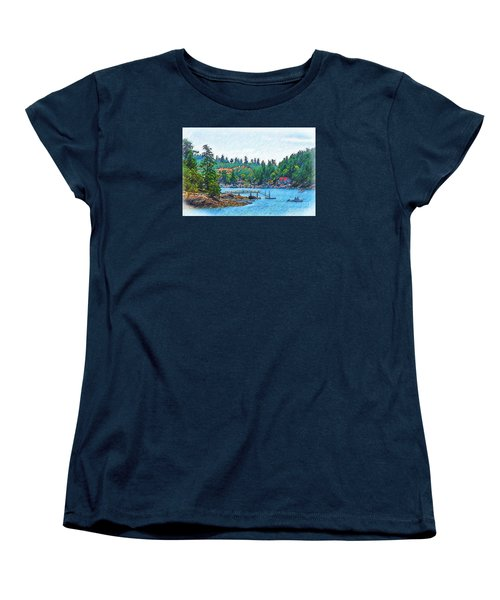 Women's T-Shirt (Standard Cut) featuring the digital art Friday Harbor Sketched by Kirt Tisdale