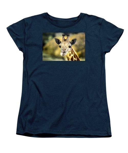 Friendly Giraffe Portrait Women's T-Shirt (Standard Cut) by Janis Knight