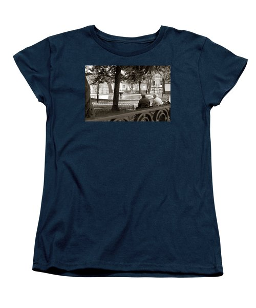 Friends At The Fountain Women's T-Shirt (Standard Cut) by Lorraine Devon Wilke