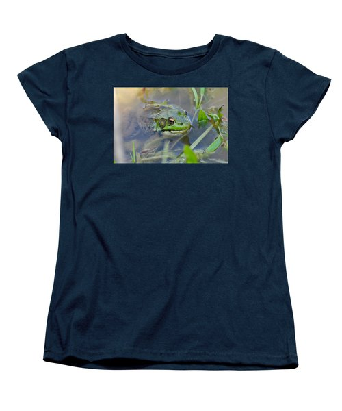 Frog Hiding In The Pond Women's T-Shirt (Standard Cut) by Lisa DiFruscio