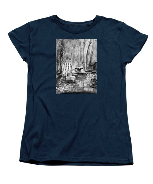 Women's T-Shirt (Standard Cut) featuring the painting Front Deck Bw by Gretchen Allen