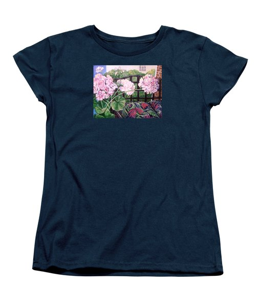 Women's T-Shirt (Standard Cut) featuring the painting Front Porch Flowers by Laura Aceto