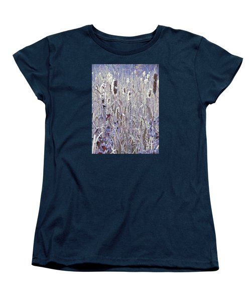 Frosted Cattails In The Morning Light Women's T-Shirt (Standard Cut) by Joy Nichols