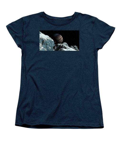 Women's T-Shirt (Standard Cut) featuring the digital art Frozen Blue Gem by David Robinson