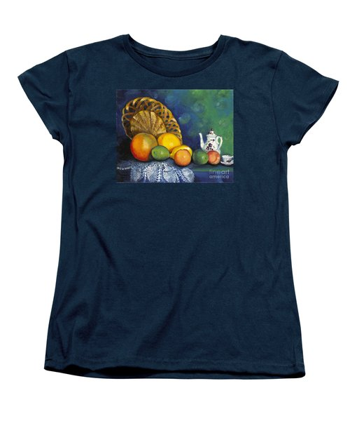 Women's T-Shirt (Standard Cut) featuring the painting Fruit On Doily by Marlene Book