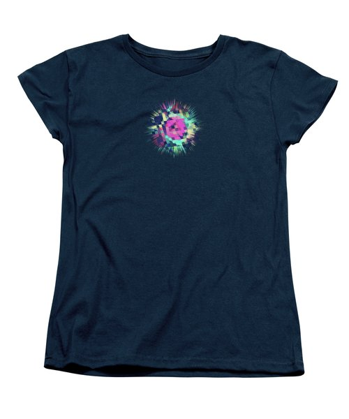 Fruity Rose   Fancy Colorful Abstraction Pattern Design  Green Pink Blue  Women's T-Shirt (Standard Cut) by Philipp Rietz