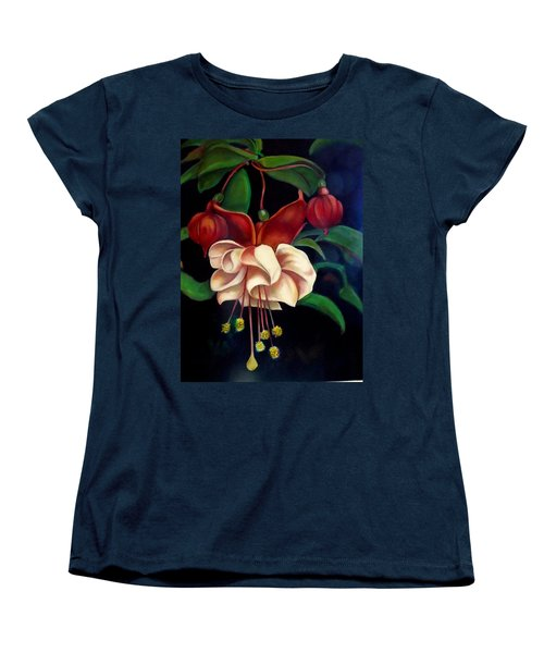 Women's T-Shirt (Standard Cut) featuring the painting Fuchsias by Irena Mohr