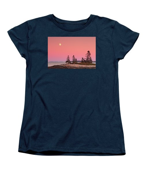Women's T-Shirt (Standard Cut) featuring the photograph Full Moon Over Maine  by Emmanuel Panagiotakis
