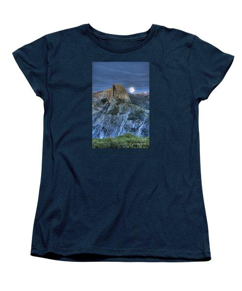 Full Moon Rising Behind Half Dome Women's T-Shirt (Standard Cut) by Jim and Emily Bush