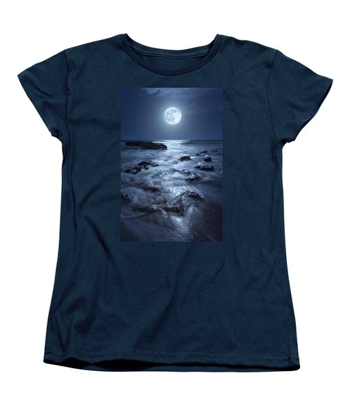 Full Moon Rising Over Coral Cove Beach In Jupiter, Florida Women's T-Shirt (Standard Cut) by Justin Kelefas