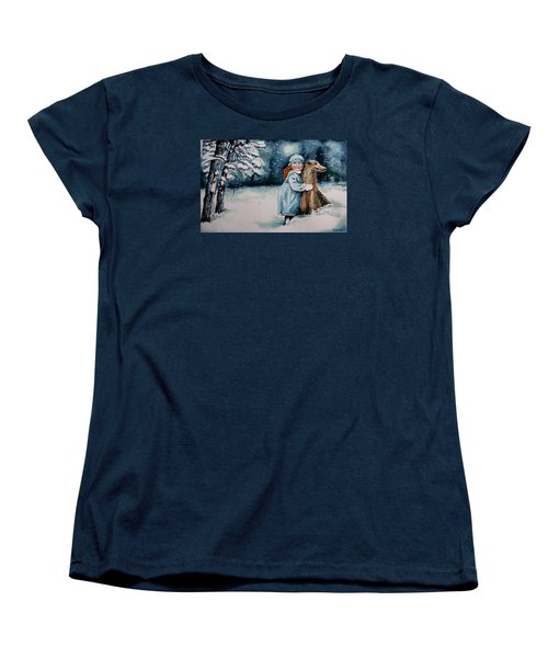 Women's T-Shirt (Standard Cut) featuring the painting Fun In The Snow by Geni Gorani