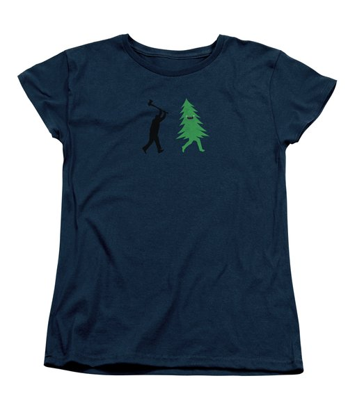 Funny Cartoon Christmas Tree Is Chased By Lumberjack Run Forrest Run Women's T-Shirt (Standard Cut)