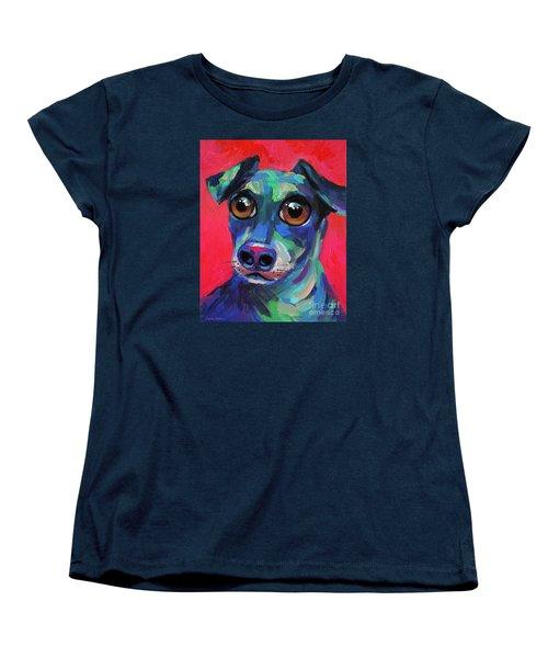 Funny Dachshund Weiner Dog With Intense Eyes Women's T-Shirt (Standard Cut) by Svetlana Novikova