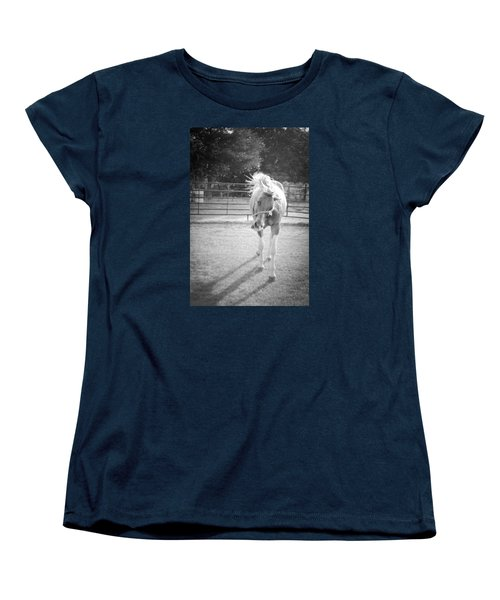 Funny Horse In Black And White Women's T-Shirt (Standard Cut) by Kelly Hazel