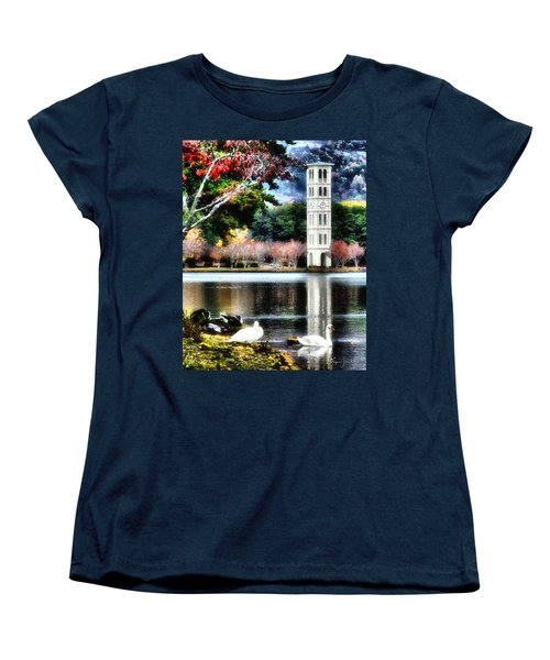 Women's T-Shirt (Standard Cut) featuring the painting Furman University Bell Tower by Lynne Jenkins
