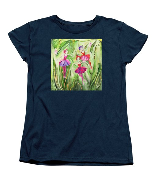 Women's T-Shirt (Standard Cut) featuring the painting Fuschia On Discovering The Truth by Nadine Dennis