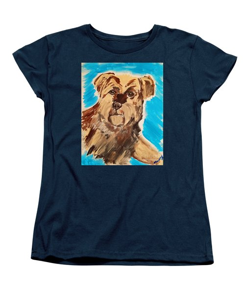 Women's T-Shirt (Standard Cut) featuring the painting Fuzzy Boy by Ania M Milo