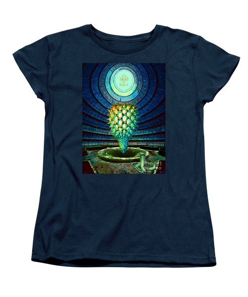 Women's T-Shirt (Standard Cut) featuring the painting Ganesha Blessing His Fruit by Mojo Mendiola