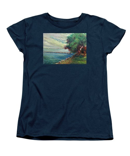 Women's T-Shirt (Standard Cut) featuring the painting Garda Lake -lago Garda by Walter Casaravilla