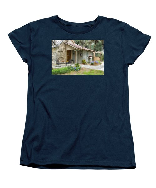 Women's T-Shirt (Standard Cut) featuring the tapestry - textile Garden Cottage by Kathy Adams Clark