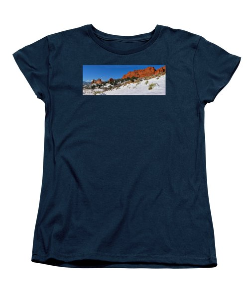 Women's T-Shirt (Standard Cut) featuring the photograph Garden Of The Gods Snowy Blue Sky Panorama by Adam Jewell