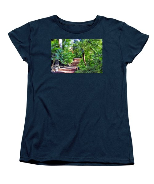 Women's T-Shirt (Standard Cut) featuring the photograph Garden Path by Jim Walls PhotoArtist