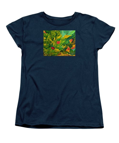 Women's T-Shirt (Standard Cut) featuring the painting Garden Series by Teresa Wegrzyn