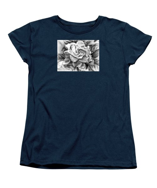 Women's T-Shirt (Standard Cut) featuring the photograph Gardenia Black And White by Barbara Middleton