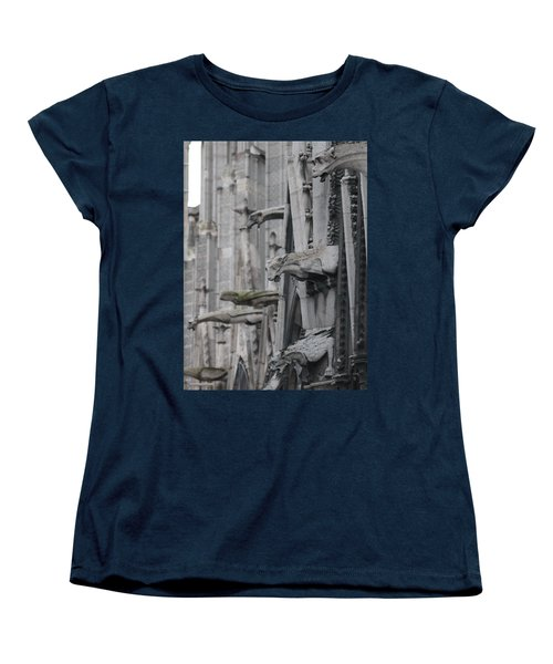 Women's T-Shirt (Standard Cut) featuring the photograph Gargoyles North Notre Dame by Christopher Kirby