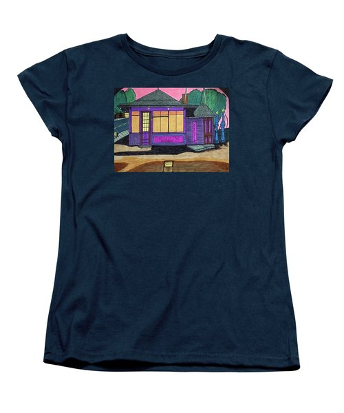 Women's T-Shirt (Standard Cut) featuring the drawing Gasoline Alley Mobil Oil. Historic Menominee Art. by Jonathon Hansen