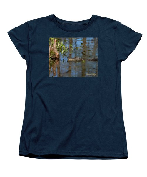 Women's T-Shirt (Standard Cut) featuring the photograph Gator In Cypress Lake 3 by Gregory Daley  PPSA