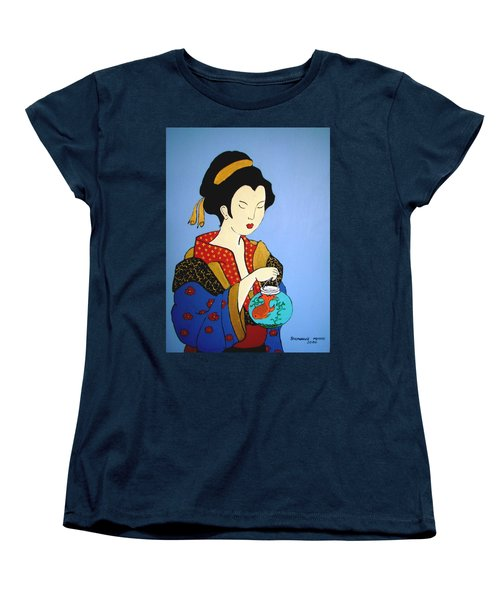 Women's T-Shirt (Standard Cut) featuring the painting Geisha With Fish by Stephanie Moore