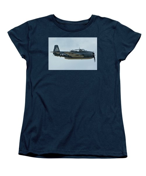 Women's T-Shirt (Standard Cut) featuring the photograph General Motors Tbm-3e Avenger Nx7835c Chino California April 30 2016 by Brian Lockett