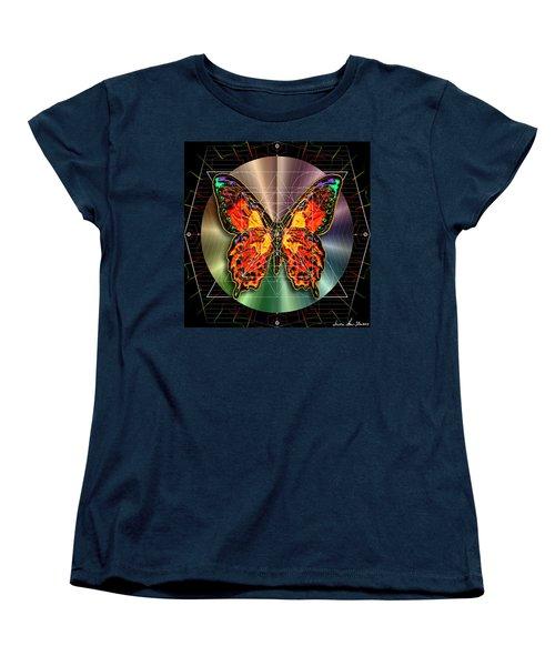 Women's T-Shirt (Standard Cut) featuring the digital art Geometron Fyr Lepidoptera by Iowan Stone-Flowers