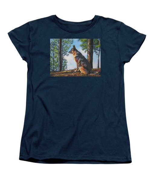 German Shepherd Lookout Women's T-Shirt (Standard Cut) by Lee Ann Shepard