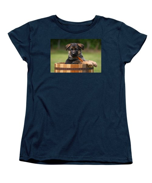 German Shepherd Puppy In Planter Women's T-Shirt (Standard Cut) by Sandy Keeton