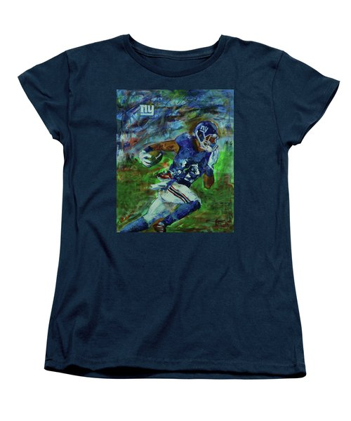 Women's T-Shirt (Standard Cut) featuring the painting Ny Giants -  Big Blue by Walter Fahmy