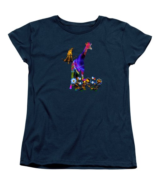 Giraffe And Flowers Women's T-Shirt (Standard Cut) by EricaMaxine  Price